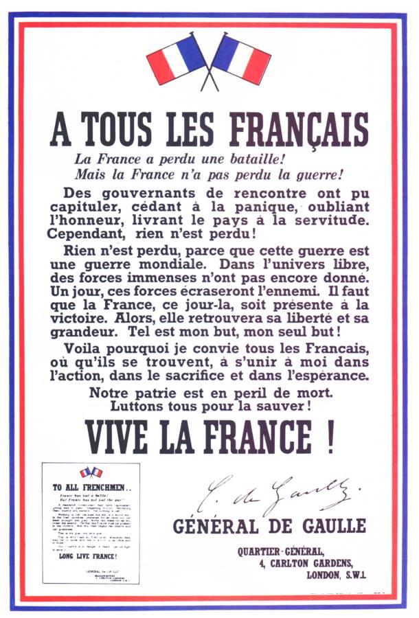 Appel du general de Gaulle a la resistance de tous les Francais apposee les 3 et 4 aout 1940 a Londres