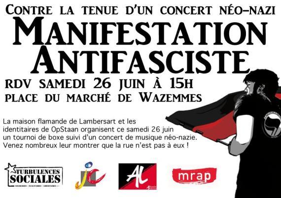 Manifestation unitaire et solidaire contre la tenue d'un concert néo-nazi à Lambersart dans INFOS