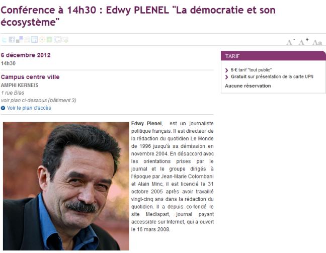 Conférence Plenel UNP
