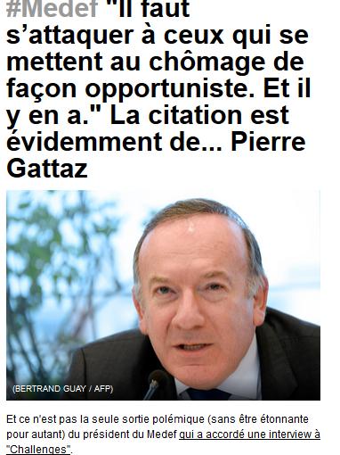Gattaz, je suis au chômage et tu m'insultes ? Va te faire foutre chez les grecs avec ton discours archaïque !#medef