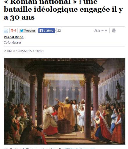l'Histoire de France ne doit pas être une proie pour les ennemis de l'évolution sociétale