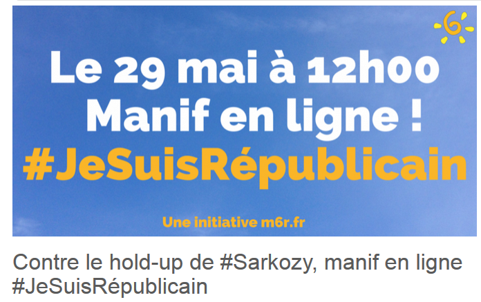 bravo à tous les twittos de la 1ère manif en ligne du #M6R  : moi aussi #JeSuisRepublicain !