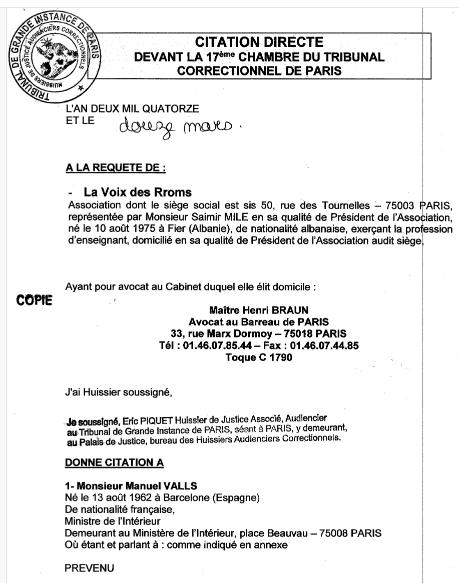 Valls Cité Aujourdhui à Comparaître Par La Voix Des Rroms Pour