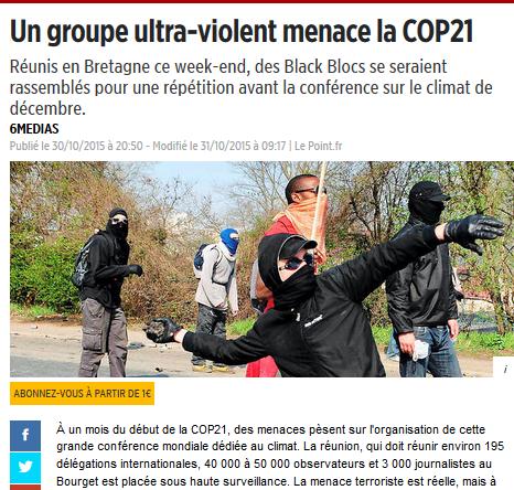 Alors, violence ou pas violence ? Le cas#cop21